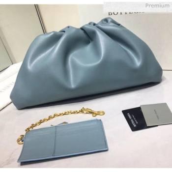 Bottega Veneta The Pouch Soft Voluminous Clutch Bag Pale Blue 2020 (MS-20060510)