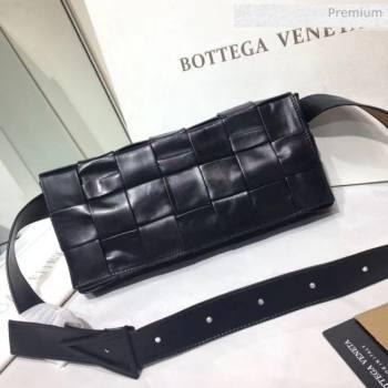 Bottega Veneta Intrecciato Calf Leather Crossbody Bag With signature Triangular Buckle Black 2020 (MS-20060439)