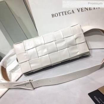 Bottega Veneta Intrecciato Calf Leather Crossbody Bag With signature Triangular Buckle White 2020 (MS-20060440)