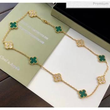 Van Cleef Arpels 10 Clovers Long Necklace Green 31 2020 (MLD-20061131)