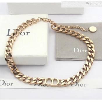 Dior CD Chian Short Necklace 2061233 Pink Gold 2020 (CS-20061233)