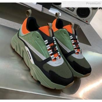 Dior B22 Sneaker in Calfskin And Technical Mesh Green/Orange 2020 (MD-20061315)