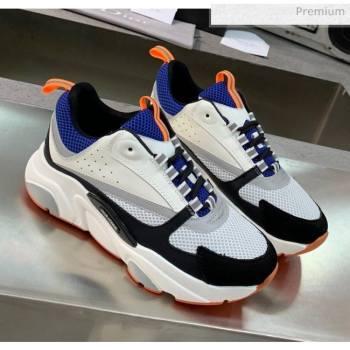 Dior B22 Sneaker in Calfskin And Technical Mesh Black/Blue/Orange 2020 (MD-20061322)