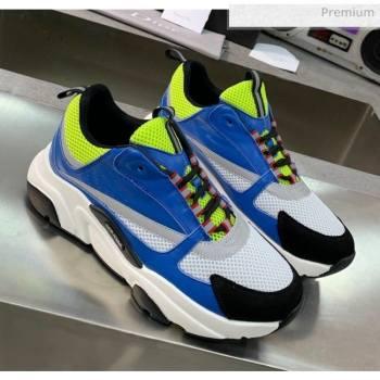 Dior B22 Sneaker in Calfskin And Technical Mesh Bright Blue/Fluorescent Green 2020 (MD-20061326)