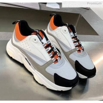 Dior B22 Sneaker in Calfskin And Technical Mesh Grey/Orange/Black 2020 (MD-20061325)