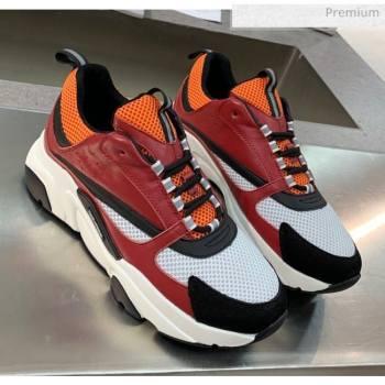 Dior B22 Sneaker in Calfskin And Technical Mesh Burgundy/Orange 2020 (MD-20061328)