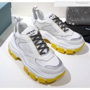 Prada Block Sneakers White/Silver/Yellow 2020 (MD-20061509)