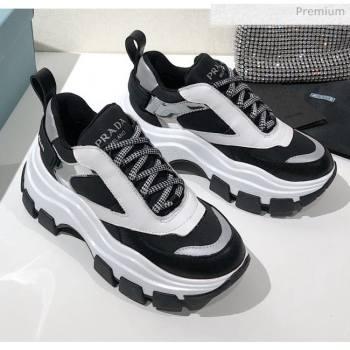 Prada Block Sneakers Black/Silver/White 2020 (MD-20061510)