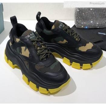 Prada Block Sneakers Black/Camouflage/Yellow 2020 (MD-20061508)