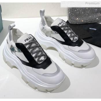 Prada Block Sneakers White/Black/Silver 2020 (MD-20061512)