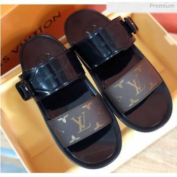 Louis Vuitton SUNBATH Flat Mules Sandals 1A66XD Black 2020 (MD-20061537)