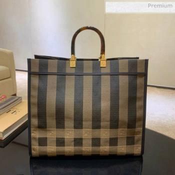 Fendi Striped Fabric Medium Sunshine Shopper Tote Coffee Brown 2020 (AFEI-20062230)