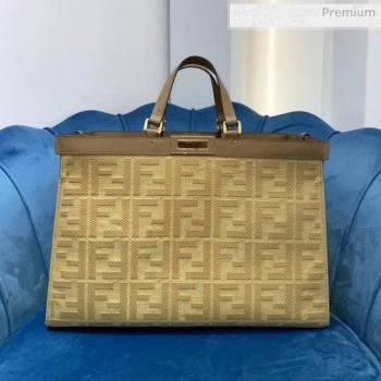 Fendi FF Embroidered Canvas Medium Peekaboo X-Tote Tote Bag Beige Yellow 2020 (AFEI-20062231)