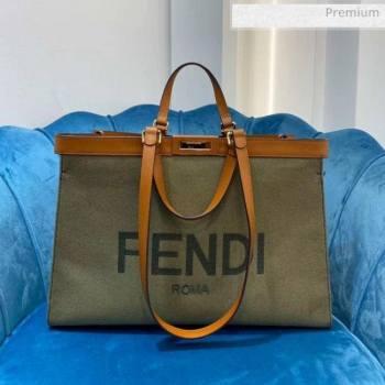 Fendi Peekaboo X-Tote Roma Canvas Medium Tote Bag Green 2020 (AFEI-20062233)
