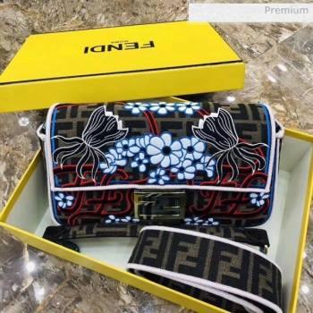 Fendi Baguette Medium Flora Embroidered Shoulder Bag Brown 2020 (AFEI-20062235)