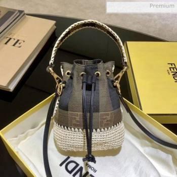 Fendi Mon Tresor Check Fabric and Braiding Mini Bucket Bag Brown 2020 (AFEI-20062237)