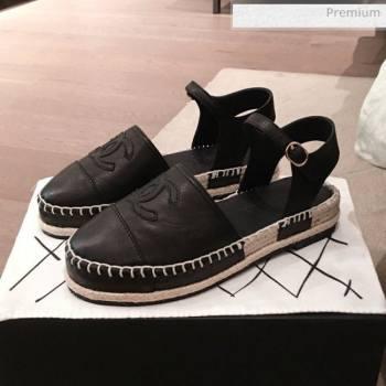 Chanel Lambskin Flat Espadrilles G36184 Black 2020 (KL-20062814)