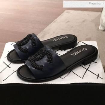 Chanel Chain CC Lambskin Flat Mules Slide Sandals G35532 Navy Blue 2020 (KL-20062821)