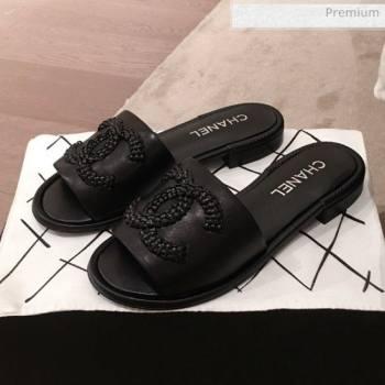 Chanel Chain CC Lambskin Flat Mules Slide Sandals G35532 Black 2020 (KL-20062820)