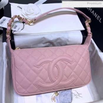 Chanel Grained Leather Hobo Bag B01960 Pink 2020 (JY-20062918)