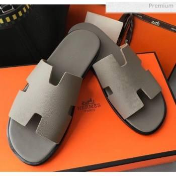 Hermes Izmir Sandal For Men in Epsom Calfskin Grey 01 2020 (Handmade) (MD-20062267)