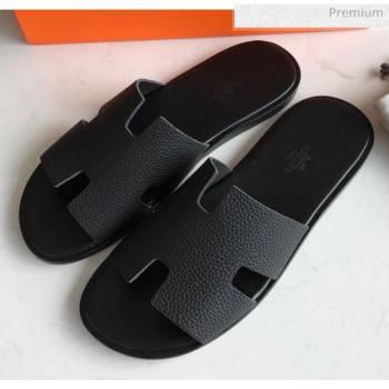 Hermes Izmir Sandal For Men in Togo Calfskin Black 2020 (Handmade) (MD-20062270)