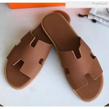 Hermes Izmir Sandal For Men in Togo Calfskin Brown 2020 (Handmade) (MD-20062272)