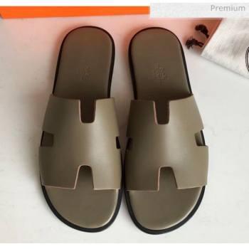 Hermes Izmir Sandal For Men in Grey Calfskin 2020 (Handmade) (MD-20062277)