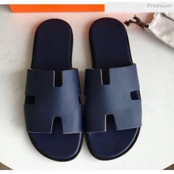 Hermes Izmir Sandal For Men in Epsom Calfskin Deep Blue 2020 (Handmade) (MD-20062281)
