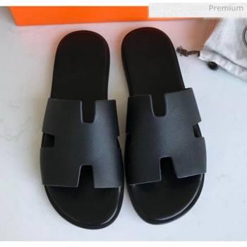 Hermes Izmir Sandal For Men in Epsom Calfskin Black 2020 (Handmade) (MD-20062283)