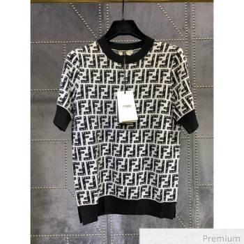 Fendi Roma Joshua Vides Viscose Kniited T-shirt Black F7039 2020 (Q-20070369)