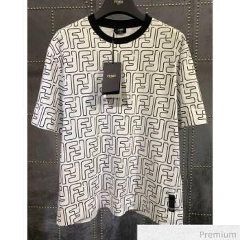 Fendi Roma Joshua Vides Viscose Cotton T-shirt White F70310 2020 (Q-20070370)