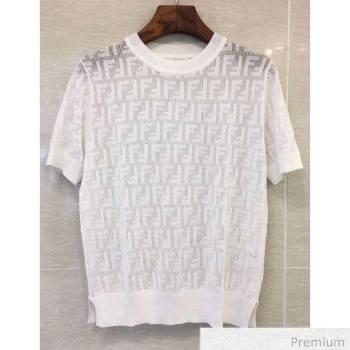 Fendi Knitted T-shirt White F70314 2020 (Q-20070374)