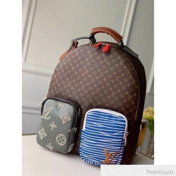 Louis Vuitton Mens Monogram Flower and Stripes Backpack M56851 Monogram Canvas/Blue 2020 (KI-20063039)