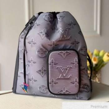 Louis Vuitton Mens 2054 Drawstring Backpack Bag M44940 Grey/Black/Rainbow 2020 (KI-20070102)