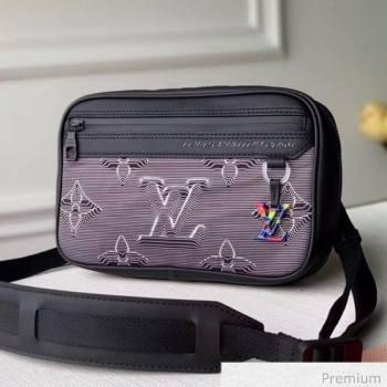 Louis Vuitton Mens 2054 Expandable Messenger Shoulder Bag M55698 Grey/Black/Rainbow 2020 (KI-20070101)