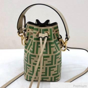 Fendi Mon Tresor Mini FF Leather Bucket Bag Beige/Green 2020 (AFEI-20071015)
