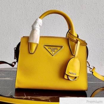 Prada Saffiano Leather Top Handle Bag 1BA269 Yellow 2020 (YZ-20071028)