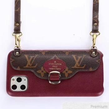 Louis Vuitton Monogram Canvas iPhone Clutch/Crossbody Bag Burgundy 03 2020 (SJK-20070803)