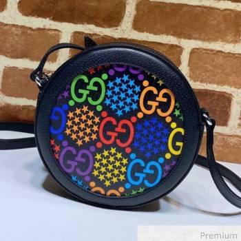 Gucci GG Star Psychedelic Canvas Round Shoulder Bag 603938 Black 2020 (DLH-20070932)