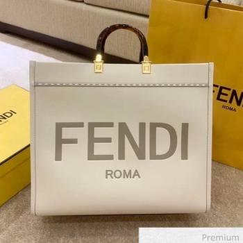 Fendi Sunshine Shopper Leather Tote Bag White 2020 (SU-20070212)