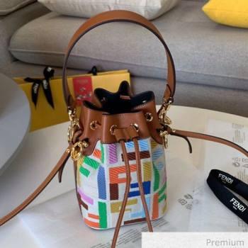 Fendi Mon Tresor Mini FF Embroidered Bucket Bag Multicolor 2020 (SU-20071001)