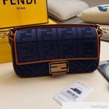 Fendi Baguette Medium FF Canvas Bag Denim Blue 2020 (SU-20071006)