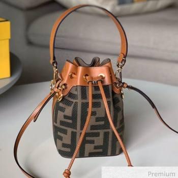Fendi Mon Tresor Mini FF Canvas Bucket Bag Green 2020 (SU-20071003)
