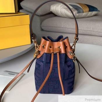 Fendi Mon Tresor Mini FF Canvas Bucket Bag Denim Blue 2020 (SU-20071004)