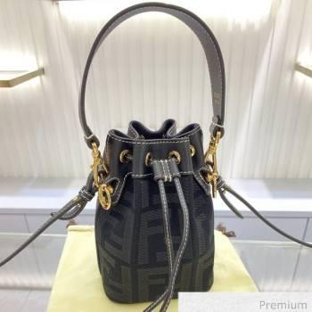 Fendi Mon Tresor Mini FF Canvas Bucket Bag Black 2020 (SU-20071005)
