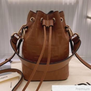 Fendi Mon Tresor Mini FF Leather Bucket Bag Caramel Brown 2020 (AFEI-20071008)