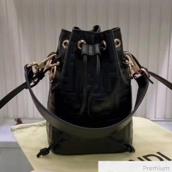 Fendi Mon Tresor Mini FF Leather Bucket Bag Black 2020 (AFEI-20071009)
