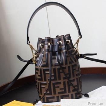 Fendi Mon Tresor Mini FF Leather Bucket Bag Brown/Black 2020 (AFEI-20071012)