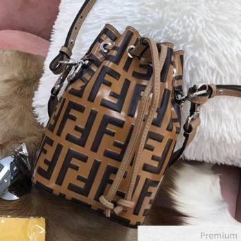 Fendi Mon Tresor Mini FF Leather Bucket Bag Brown/Black 2019 (AFEI-20071013)